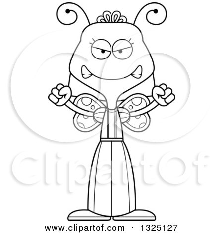 Lineart Clipart of a Cartoon Black and White Mad Butterfly - Royalty Free Outline Vector Illustration by Cory Thoman