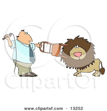 Male Lion Tamer Holding a Chair and Whip While Training the Cat Clipart Illustration by djart