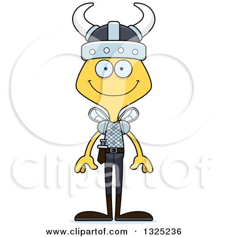 Clipart of a Cartoon Happy Bee Viking - Royalty Free Vector Illustration by Cory Thoman