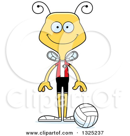 Clipart of a Cartoon Happy Bee Volleyball Player - Royalty Free Vector Illustration by Cory Thoman