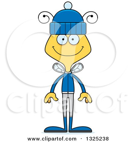 Clipart of a Cartoon Happy Bee in Winter Clothes - Royalty Free Vector Illustration by Cory Thoman