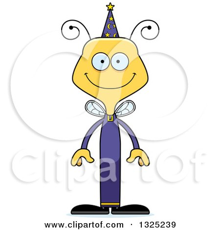 Clipart of a Cartoon Happy Bee Wizard - Royalty Free Vector Illustration by Cory Thoman