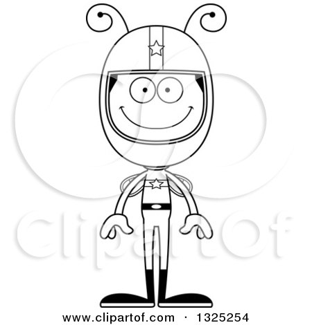 Lineart Clipart of a Cartoon Black and White Happy Bee Race Car Driver - Royalty Free Outline Vector Illustration by Cory Thoman