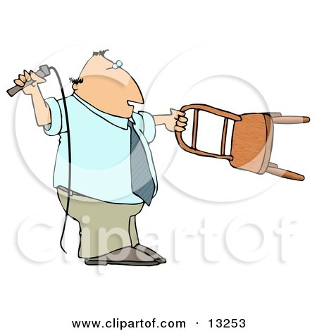 Man Holding a Whip and Chair While Taming a Lion Clipart Illustration by djart