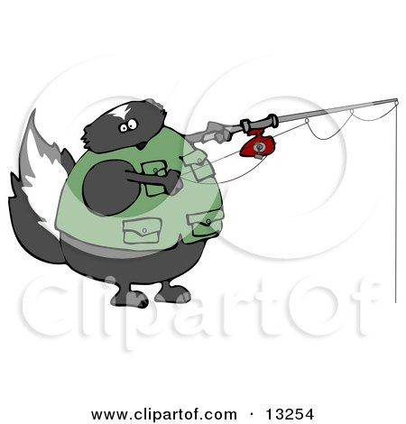 Skunk Wearing a Vest While Fishing Clipart Illustration by djart