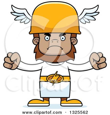 Clipart of a Cartoon Mad Bigfoot Hermes - Royalty Free Vector Illustration by Cory Thoman