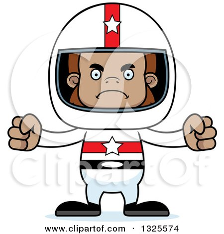 Clipart of a Cartoon Mad Bigfoot Race Car Driver - Royalty Free Vector Illustration by Cory Thoman