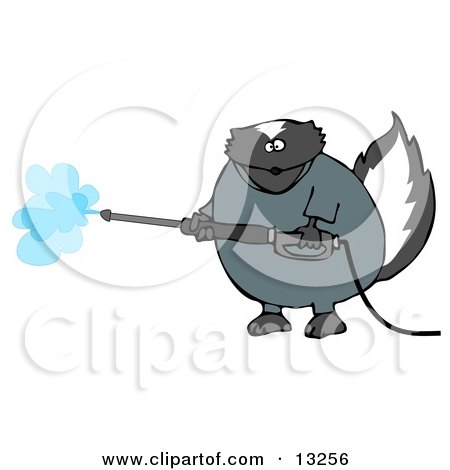 Skunk in Coveralls, Using a Pressure Washer Clipart Illustration by djart