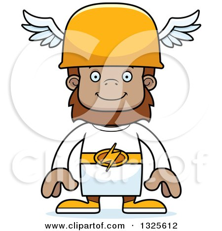 Clipart of a Cartoon Happy Bigfoot Hermes - Royalty Free Vector Illustration by Cory Thoman