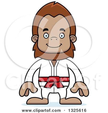 Clipart of a Cartoon Happy Karate Bigfoot - Royalty Free Vector Illustration by Cory Thoman