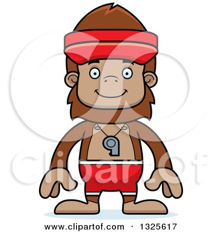 Clipart of a Cartoon Happy Bigfoot Lifeguard - Royalty Free Vector Illustration by Cory Thoman