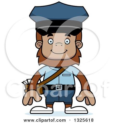 Clipart of a Cartoon Happy Bigfoot Mailman - Royalty Free Vector Illustration by Cory Thoman