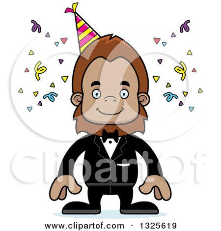 Clipart of a Cartoon Happy Party Bigfoot - Royalty Free Vector Illustration by Cory Thoman