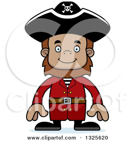 Clipart of a Cartoon Happy Bigfoot Pirate - Royalty Free Vector Illustration by Cory Thoman