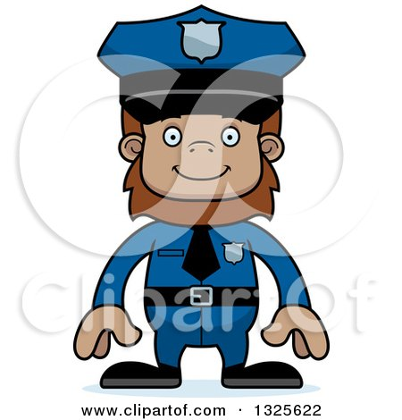 Clipart of a Cartoon Happy Bigfoot Police Officer - Royalty Free Vector Illustration by Cory Thoman