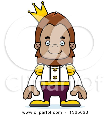 Clipart of a Cartoon Happy Bigfoot Prince - Royalty Free Vector Illustration by Cory Thoman