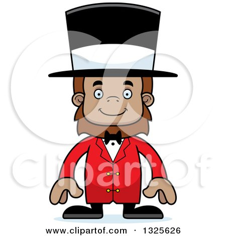 Clipart of a Cartoon Happy Bigfoot Circus Ringmaster - Royalty Free Vector Illustration by Cory Thoman