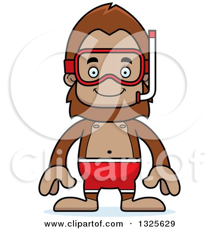 Clipart of a Cartoon Happy Bigfoot in Snorkel Gear - Royalty Free Vector Illustration by Cory Thoman