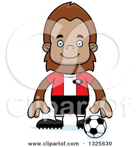 Clipart of a Cartoon Happy Bigfoot Soccer Player - Royalty Free Vector Illustration by Cory Thoman