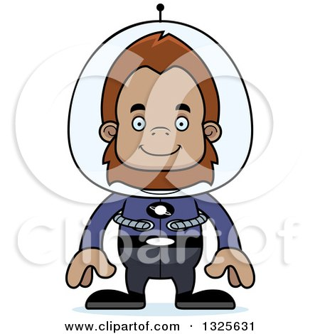 Clipart of a Cartoon Happy Futuristic Space Bigfoot - Royalty Free Vector Illustration by Cory Thoman