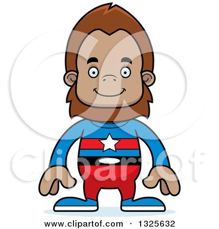 Clipart of a Cartoon Happy Bigfoot Super Hero - Royalty Free Vector Illustration by Cory Thoman