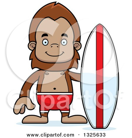Clipart of a Cartoon Happy Bigfoot Surfer - Royalty Free Vector Illustration by Cory Thoman