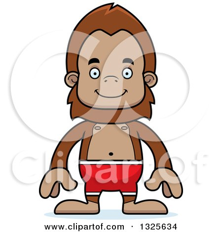 Clipart of a Cartoon Happy Bigfoot Swimmer - Royalty Free Vector Illustration by Cory Thoman