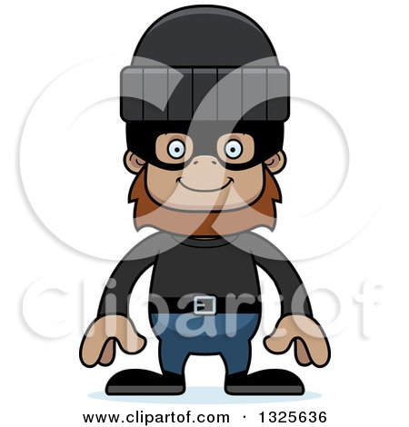 Clipart of a Cartoon Happy Bigfoot Robber - Royalty Free Vector Illustration by Cory Thoman