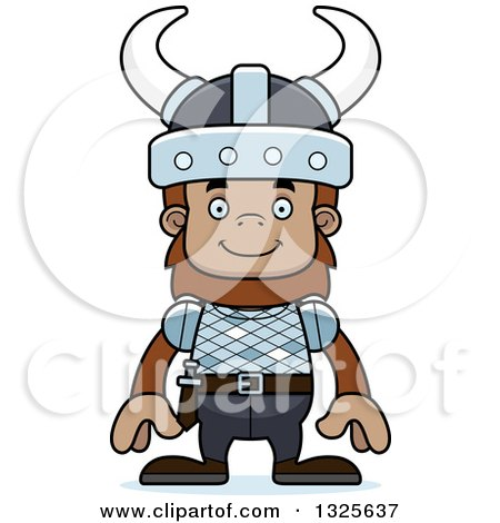 Clipart of a Cartoon Happy Bigfoot Viking - Royalty Free Vector Illustration by Cory Thoman
