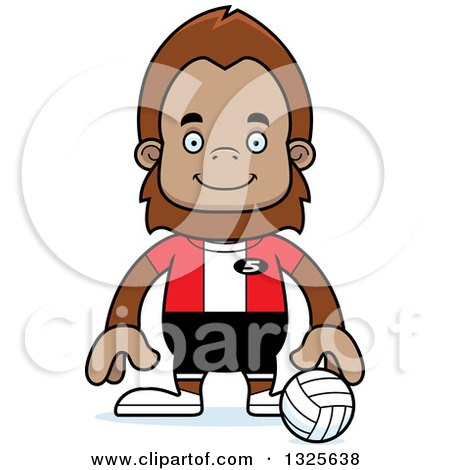 Clipart of a Cartoon Happy Bigfoot Volleyball Player - Royalty Free Vector Illustration by Cory Thoman