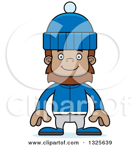 Clipart of a Cartoon Happy Bigfoot in Winter Clothes - Royalty Free Vector Illustration by Cory Thoman