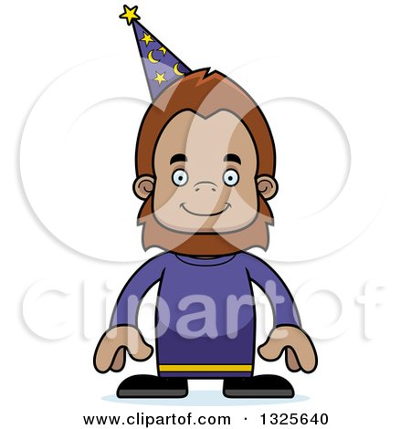Clipart of a Cartoon Happy Bigfoot Wizard - Royalty Free Vector Illustration by Cory Thoman