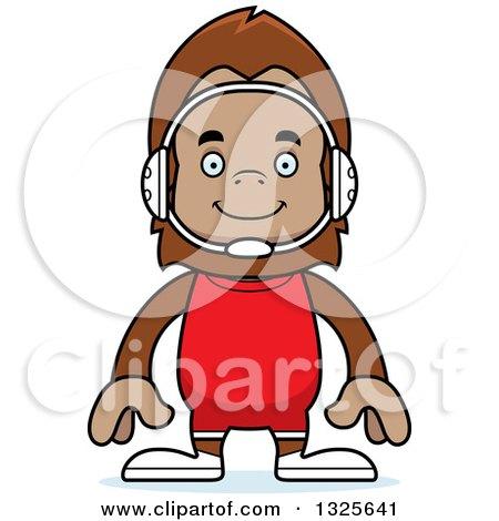 Clipart of a Cartoon Happy Bigfoot Wrestler - Royalty Free Vector Illustration by Cory Thoman