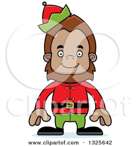 Clipart of a Cartoon Happy Christmas Elf Bigfoot - Royalty Free Vector Illustration by Cory Thoman