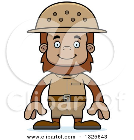 Clipart of a Cartoon Happy Bigfoot Zookeeper - Royalty Free Vector Illustration by Cory Thoman