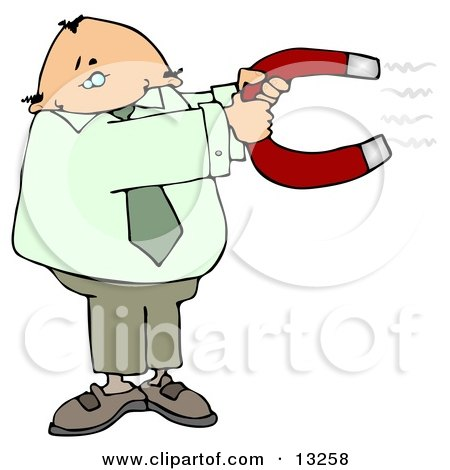 Business Man Holding Onto a Strong Horse Shoe Shaped Magnet Clipart Illustration by djart