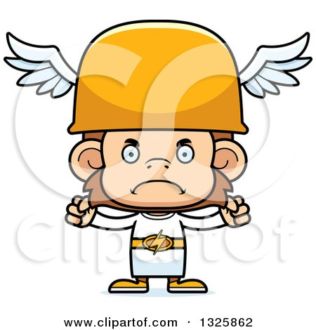 Clipart of a Cartoon Mad Hermes Monkey - Royalty Free Vector Illustration by Cory Thoman