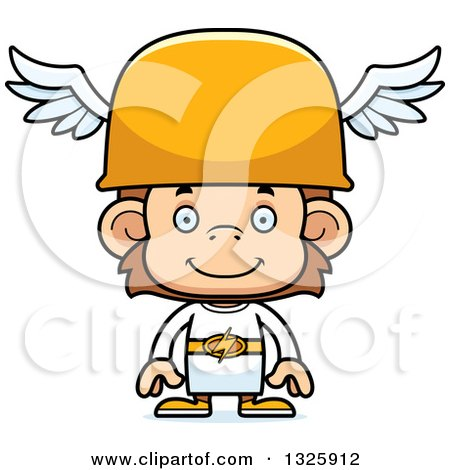 Clipart of a Cartoon Happy Hermes Monkey - Royalty Free Vector Illustration by Cory Thoman