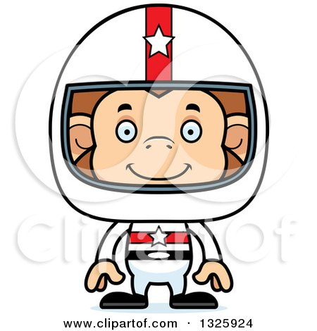 Clipart of a Cartoon Happy Monkey Race Car Driver - Royalty Free Vector Illustration by Cory Thoman