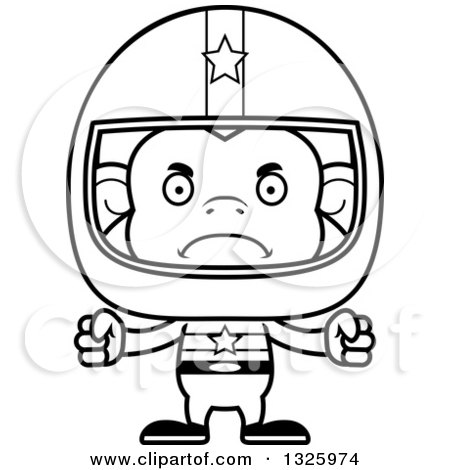 Lineart Clipart of a Cartoon Black and White Mad Monkey Race Car Driver - Royalty Free Outline Vector Illustration by Cory Thoman