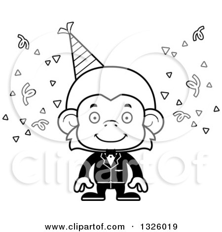 Lineart Clipart Of A Cartoon Black And White Happy Party Monkey