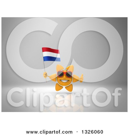 Clipart of a 3d Sun Character Wearing Shades, Holding a Netherlands Flag and Giving a Thumb up on Gray 2 - Royalty Free Illustration by Julos