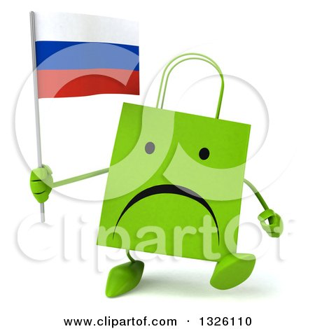 Clipart of a 3d Unappy Green Shopping or Gift Bag Character Walking and Holding a Russian Flag - Royalty Free Illustration by Julos