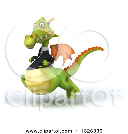 Clipart of a 3d Green Business Dragon Sprinting to the Left - Royalty Free Illustration by Julos
