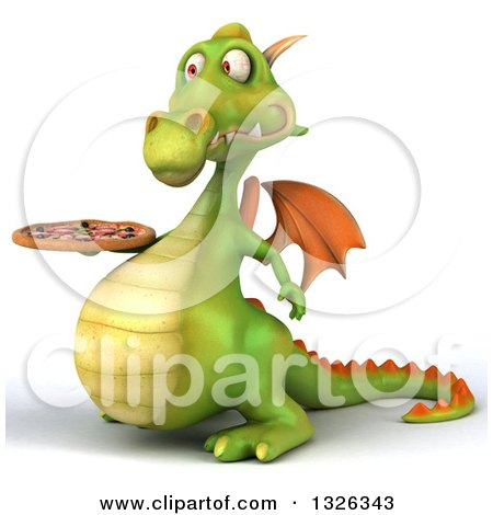 Clipart of a 3d Green Dragon Facing Left and Holding a Pizza - Royalty Free Illustration by Julos