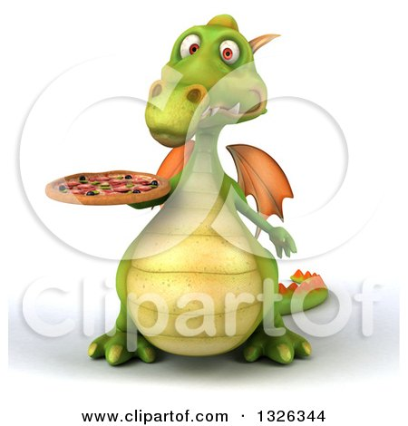Clipart of a 3d Green Dragon Holding a Pizza - Royalty Free Illustration by Julos