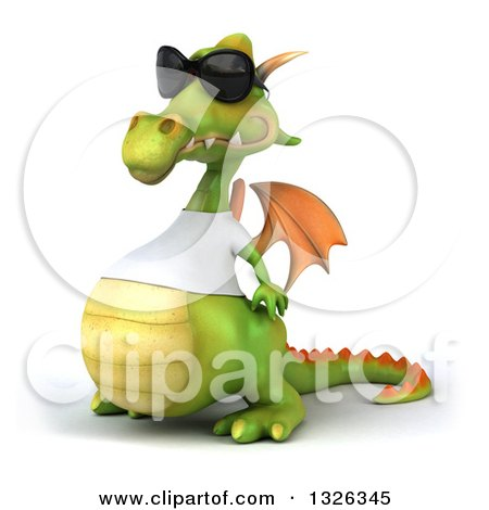 Clipart of a 3d Casual Green Dragon Wearing Sunglasses and a White T Shirt, Facing Left - Royalty Free Illustration by Julos