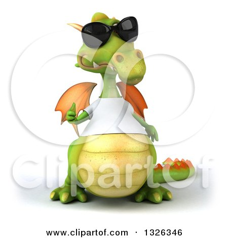 Clipart of a 3d Casual Green Dragon Wearing Sunglasses and a White T Shirt, Giving a Thumb up - Royalty Free Illustration by Julos