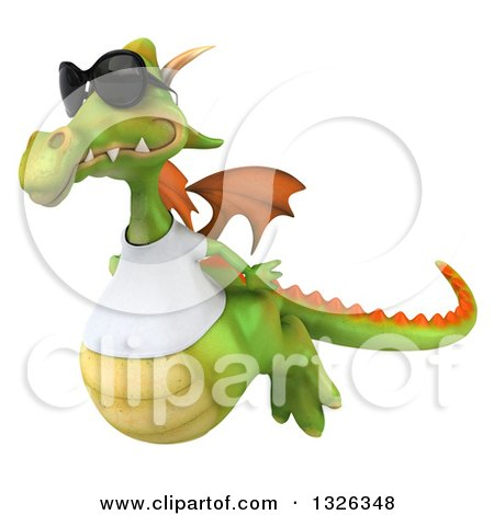 Clipart of a 3d Casual Green Dragon Wearing Sunglasses and a White T Shirt, Flying to the Left - Royalty Free Illustration by Julos
