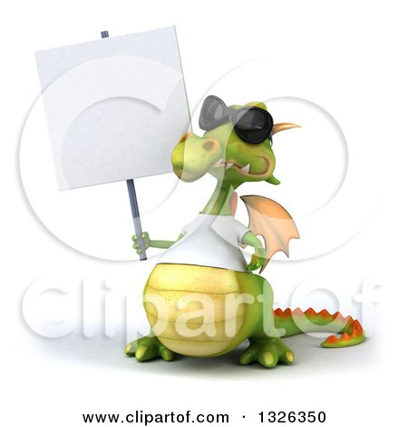Clipart of a 3d Casual Green Dragon Wearing Sunglasses and a White T Shirt, Shrugging and Holding a Blank Sign - Royalty Free Illustration by Julos